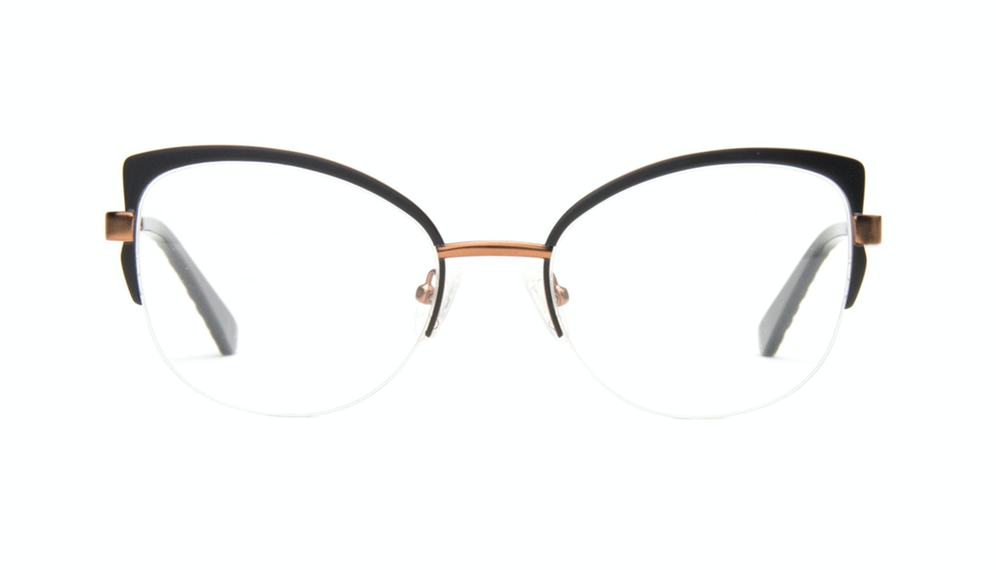 Affordable Fashion Glasses Cat Eye Semi-Rimless Eyeglasses Women Adore Black Copper Front