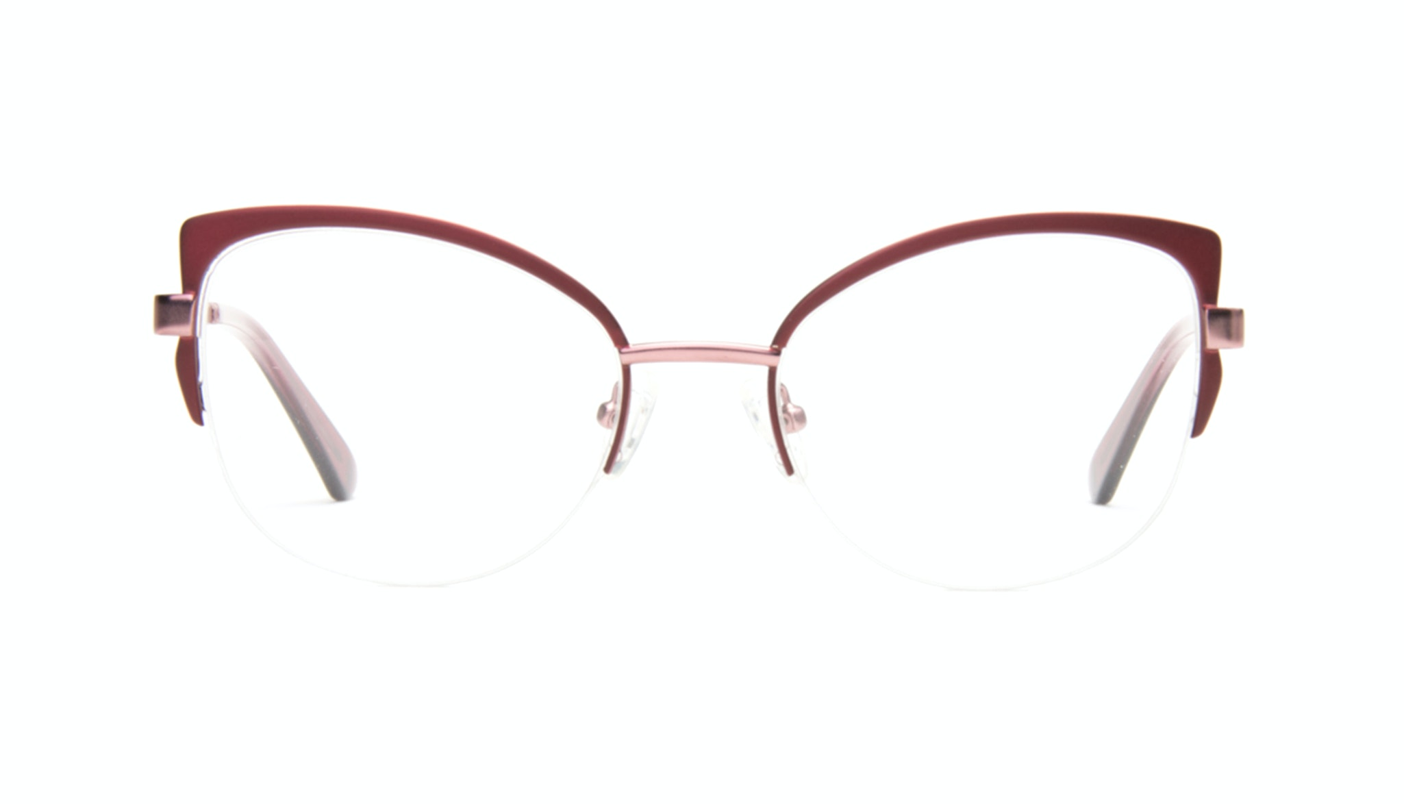 Affordable Fashion Glasses Cat Eye Semi-Rimless Eyeglasses Women Adore Cranberry Front
