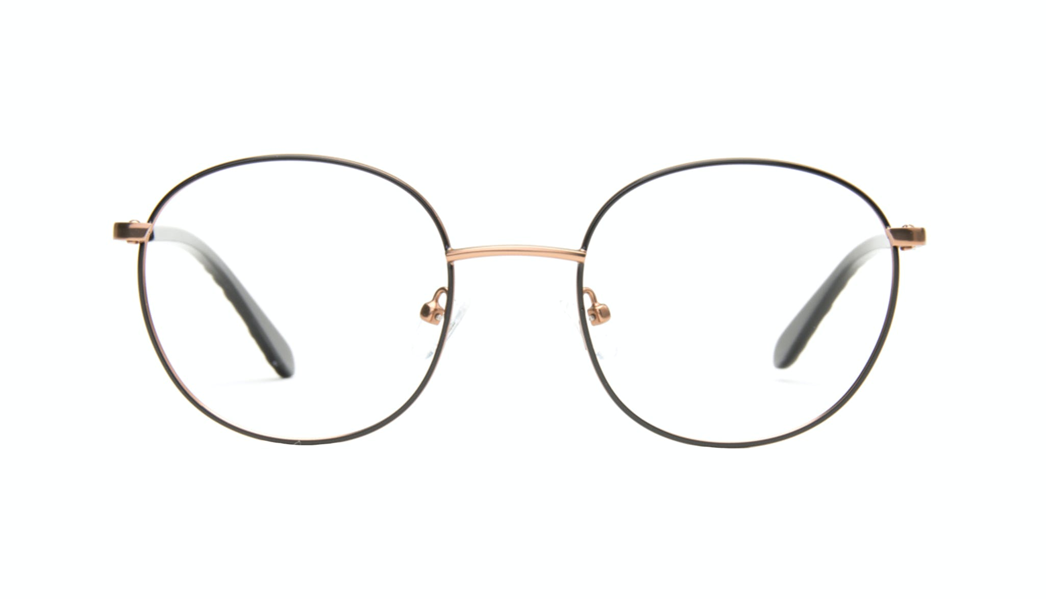 Affordable Fashion Glasses Round Eyeglasses Women Joy Black Copper Front