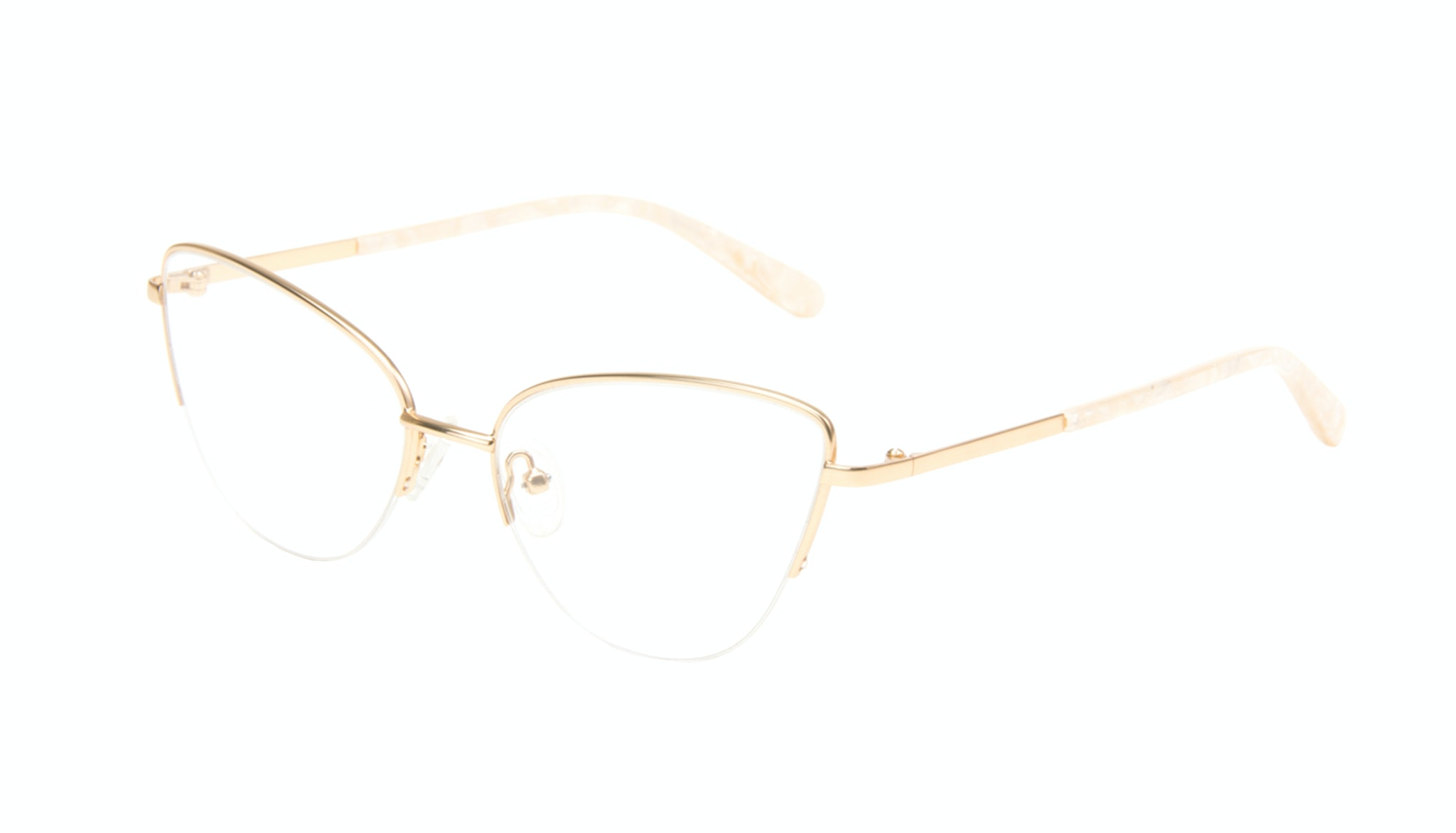 Affordable Fashion Glasses Cat Eye Eyeglasses Women Airy  Gold Marble Tilt