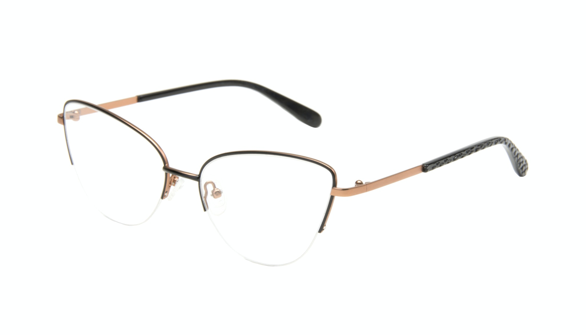 Affordable Fashion Glasses Cat Eye Semi-Rimless Eyeglasses Women Airy  Black Copper Tilt