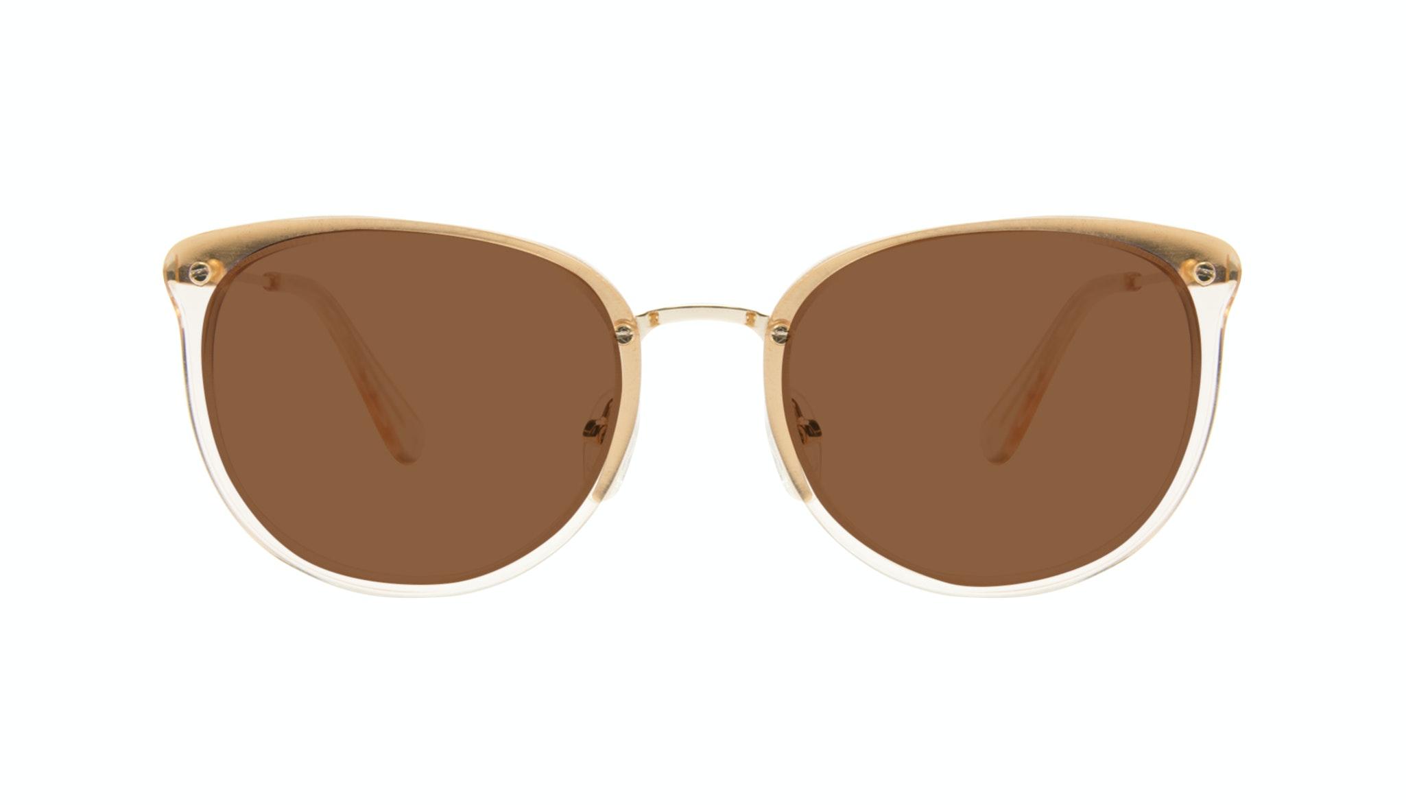 Affordable Fashion Glasses Square Round Sunglasses Women Amaze Blond Metal