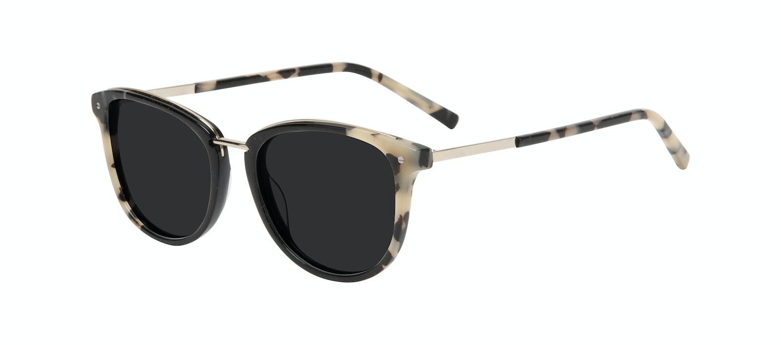 Affordable Fashion Glasses Square Round Sunglasses Women Bella Ebony Granite Tilt