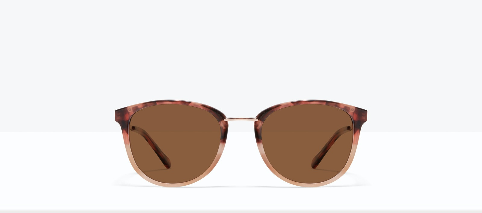 Affordable Fashion Glasses Square Round Sunglasses Women Bella M Two Tone Pink Tort Front