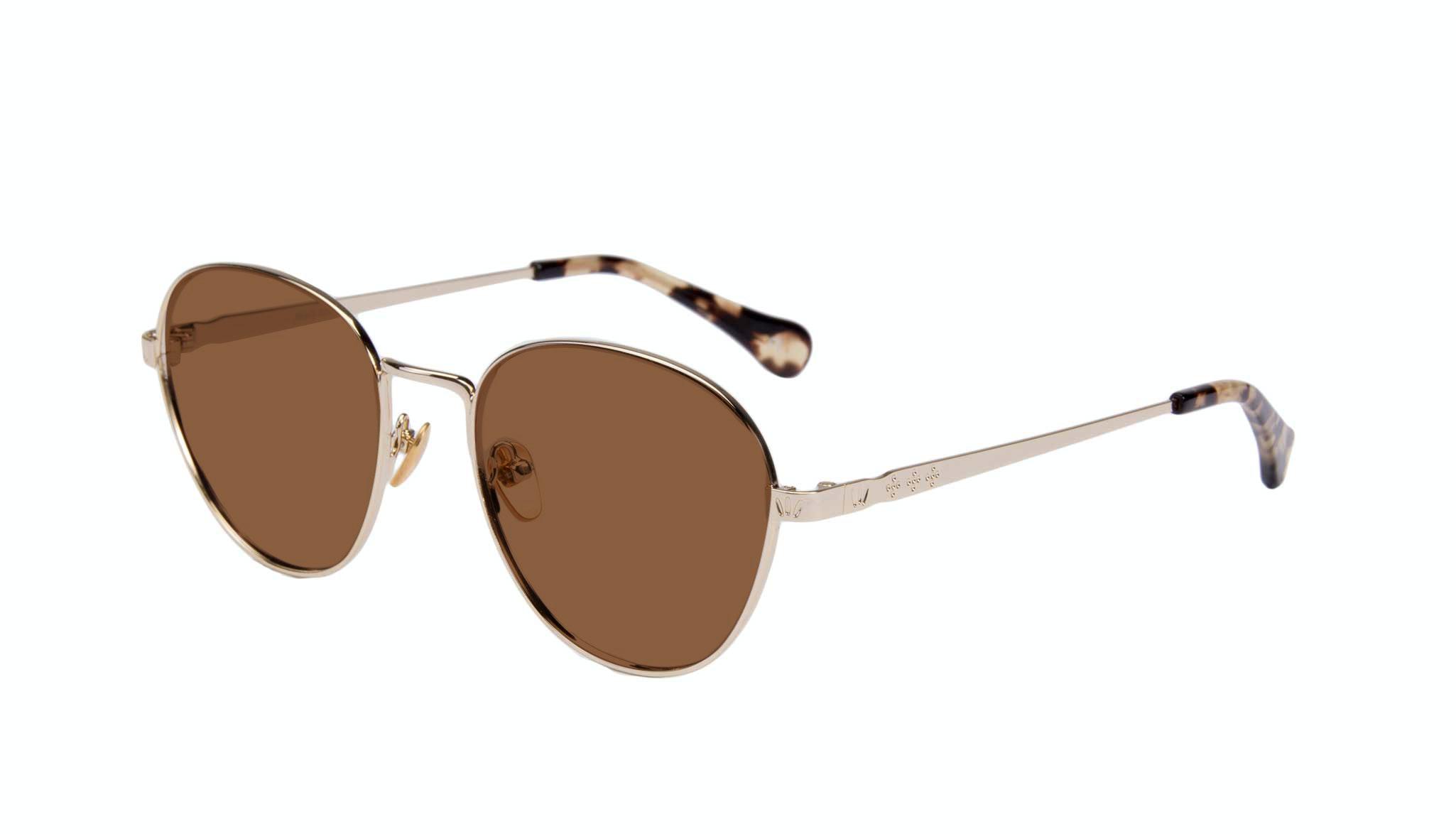 Affordable Fashion Glasses Round Sunglasses Women Brace Gold Tilt