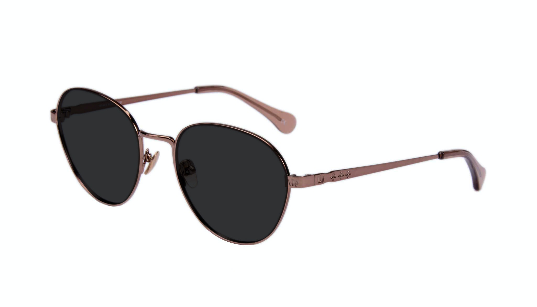 Affordable Fashion Glasses Round Sunglasses Women Brace Rose Gold Tilt