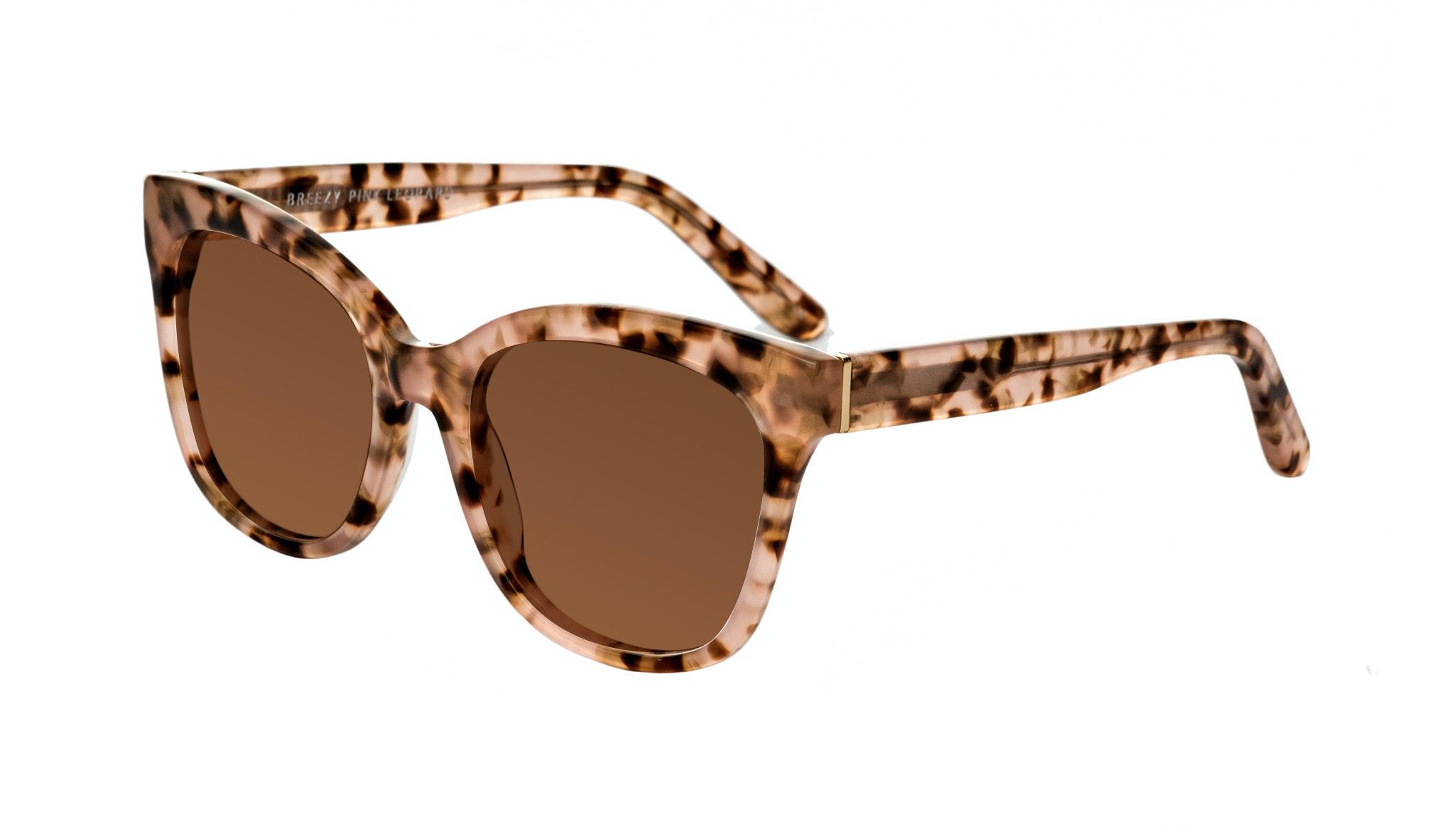 Affordable Fashion Glasses Square Sunglasses Women Breezy Pink Leopard Tilt