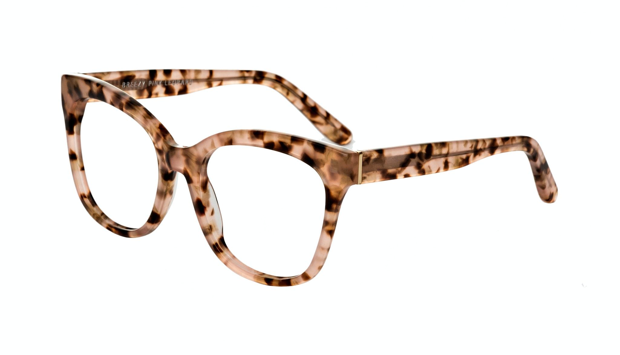 Affordable Fashion Glasses Rectangle Square Eyeglasses Women Breezy Pink Leopard Tilt