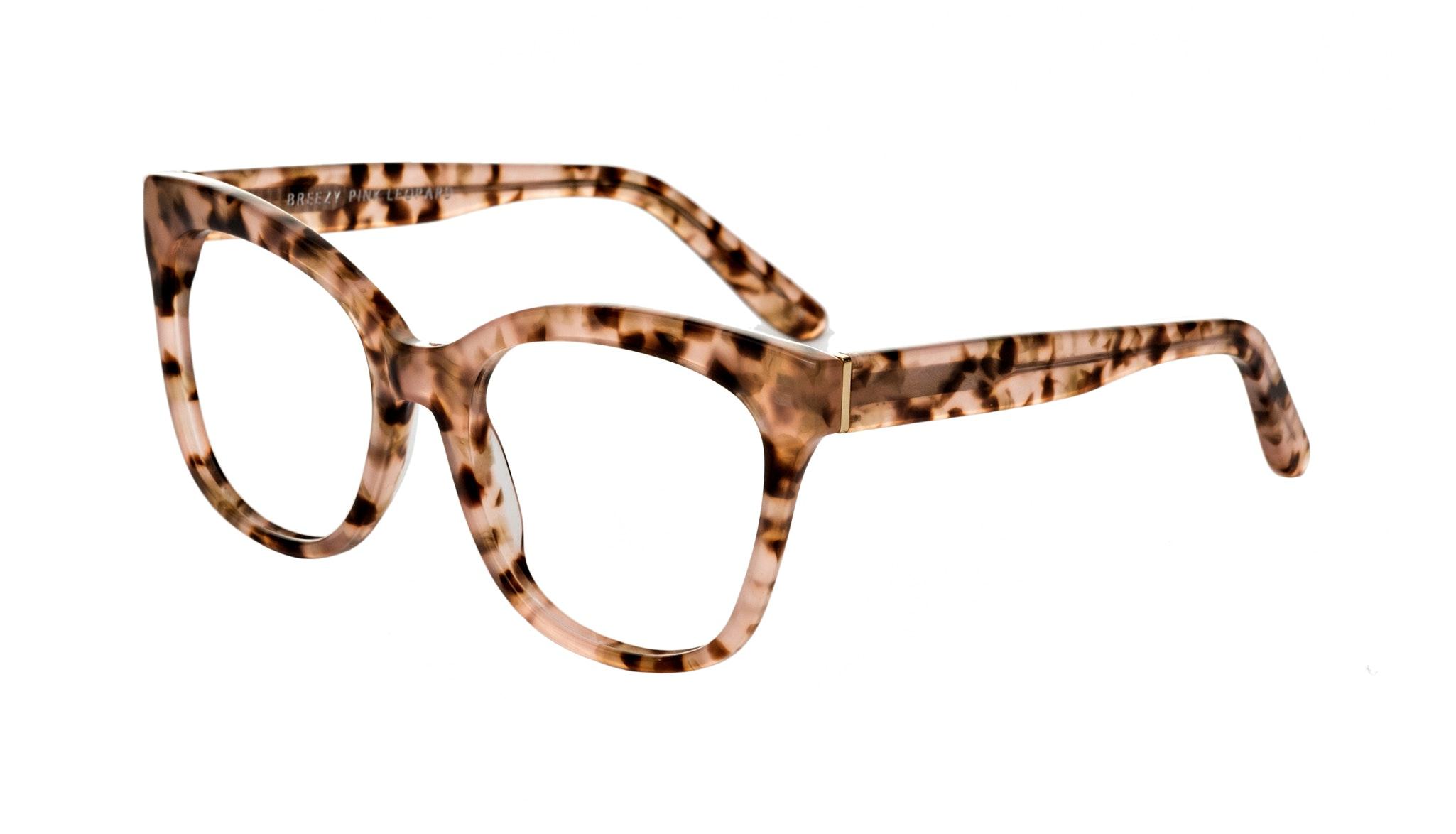 Affordable Fashion Glasses Rectangle Square Eyeglasses Women Breezy Pink Leopard Tilt
