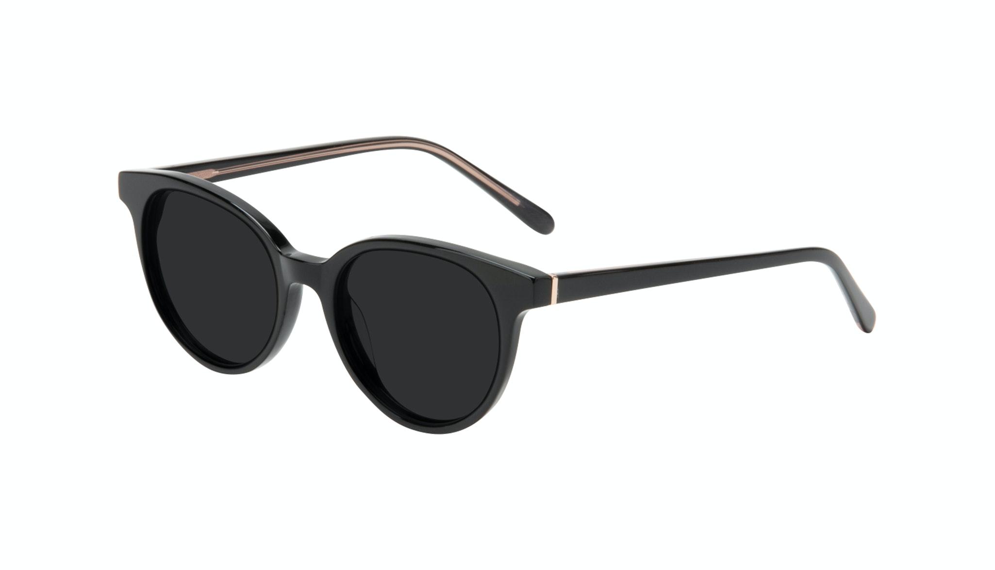 Affordable Fashion Glasses Round Sunglasses Women Bright Black Tilt