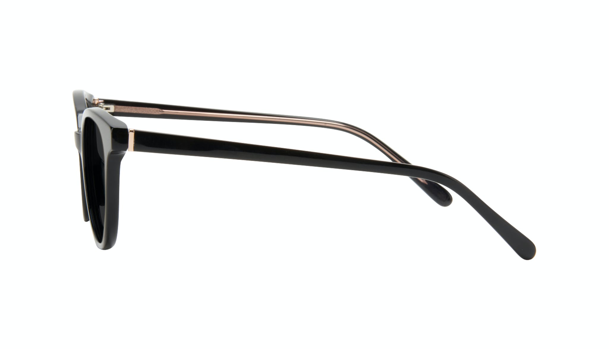 Affordable Fashion Glasses Round Sunglasses Women Bright Black Side