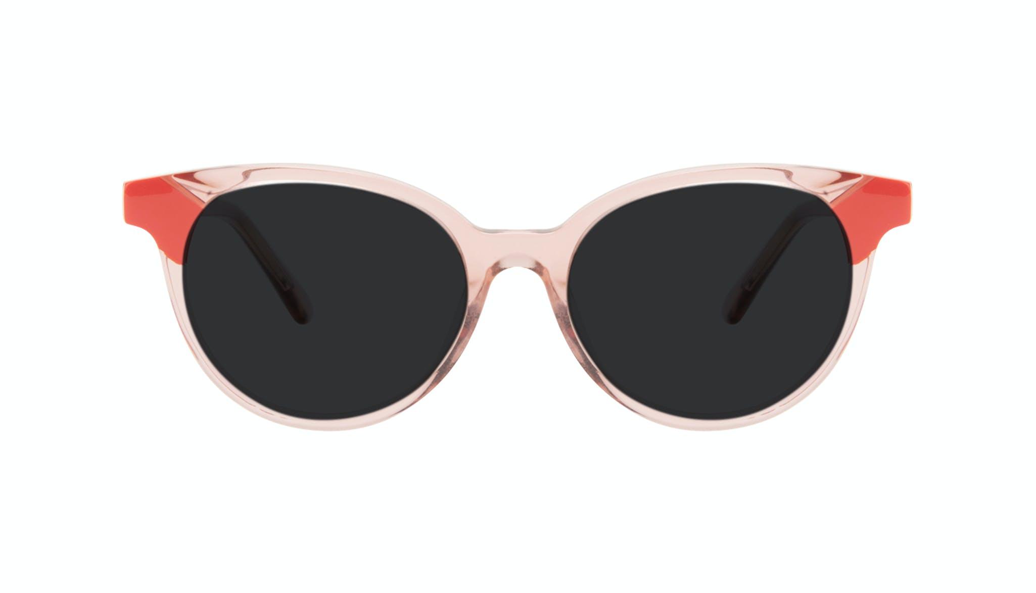 Lunettes tendance Ronde Lunettes de soleil Femmes Bright Pink Coral