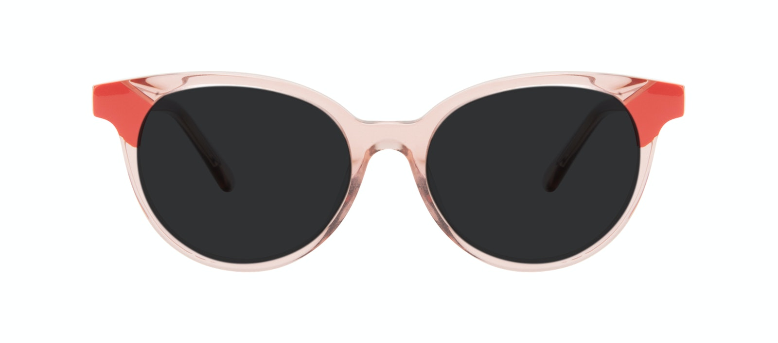 Lunettes tendance Ronde Lunettes de soleil Femmes Bright Pink Coral Face