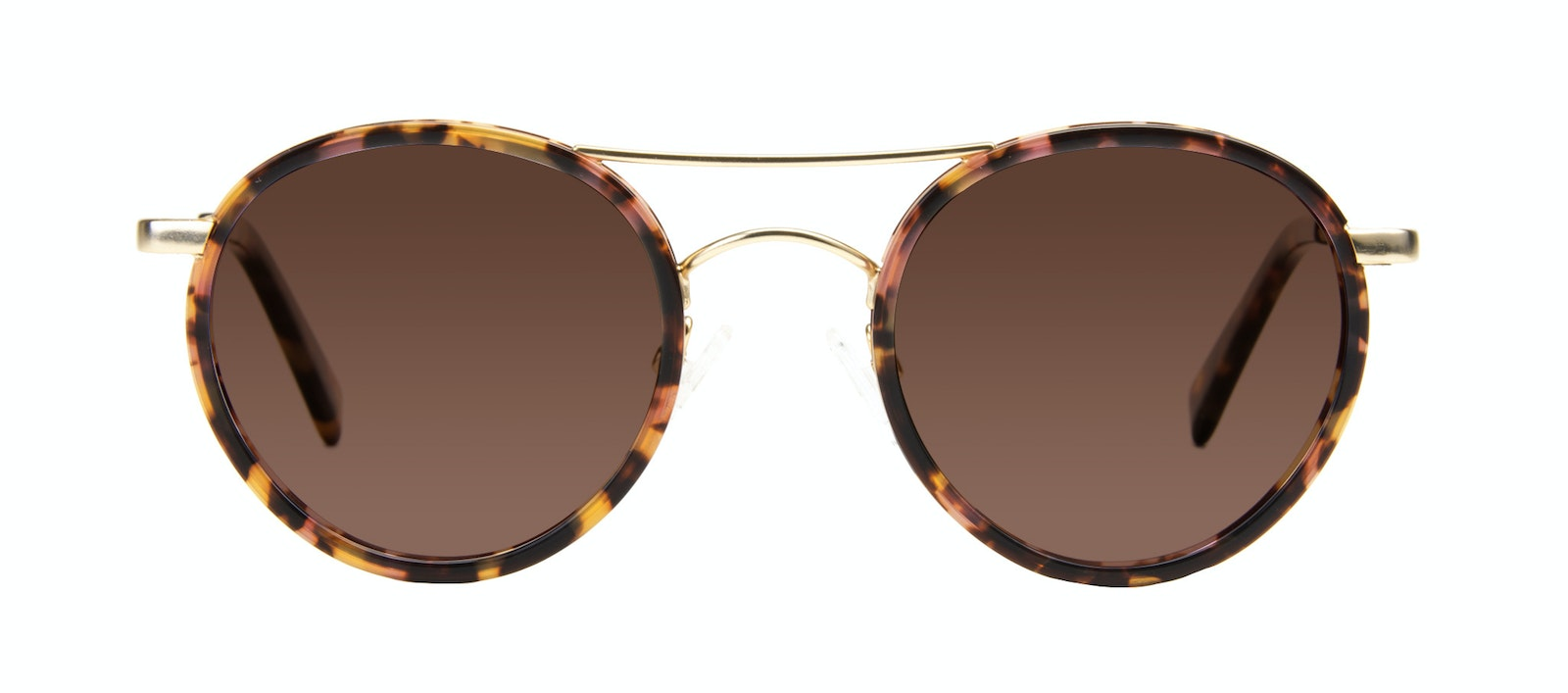 Affordable Fashion Glasses Aviator Round Sunglasses Women Chelsea Gold Tortoise Front
