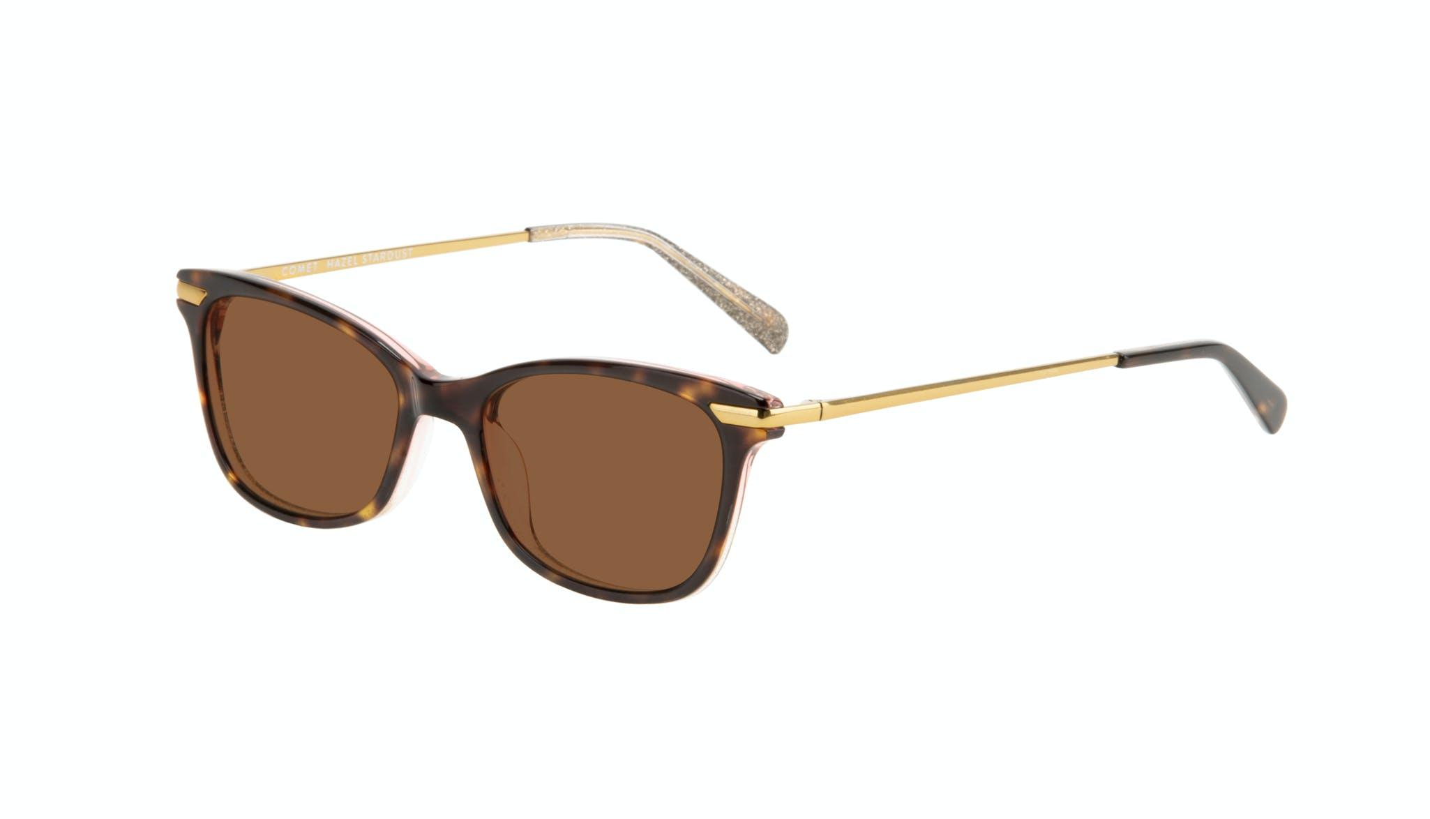 Affordable Fashion Glasses Rectangle Sunglasses Women Comet II Hazel Stardust Tilt