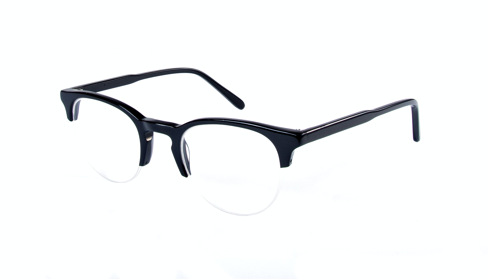 Affordable Fashion Glasses Round Semi-Rimless Eyeglasses Men Women Cult Light Onyx Tilt