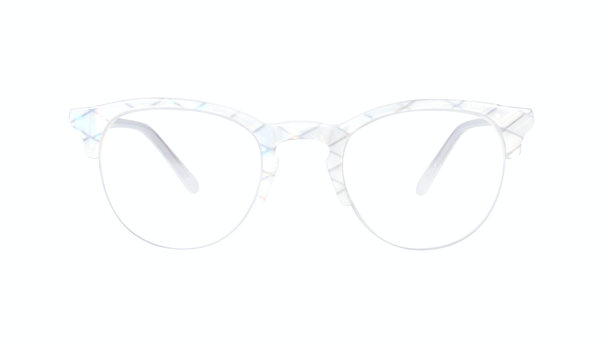 Affordable Fashion Glasses Round Semi-Rimless Eyeglasses Women Cult Light Opaline
