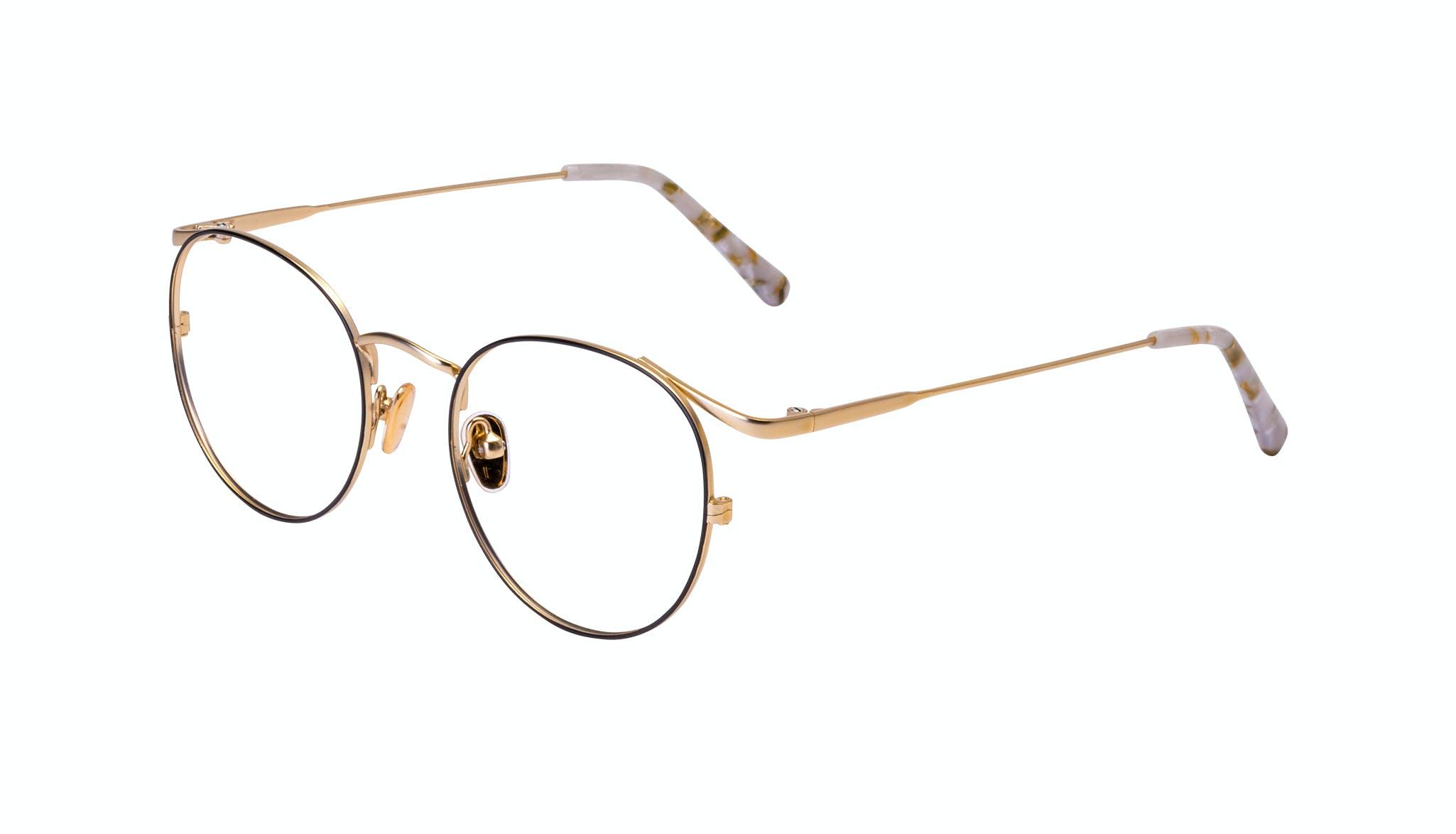 Affordable Fashion Glasses Round Eyeglasses Women Curve Deep Gold Tilt