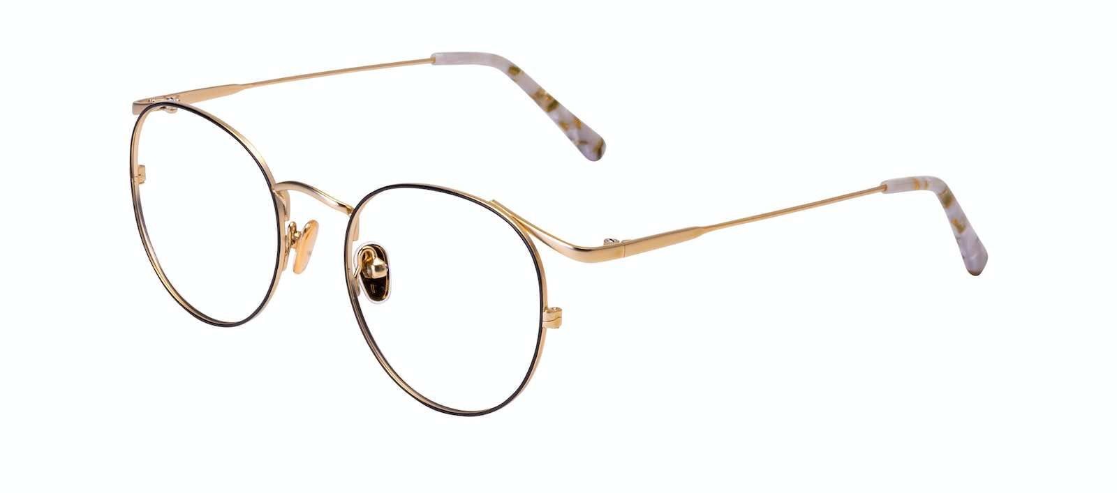 Affordable Fashion Glasses Round Eyeglasses Women Curve Deep Gold Tilt