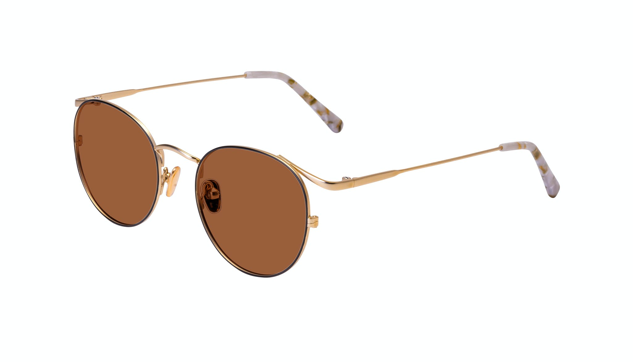Affordable Fashion Glasses Round Sunglasses Women Curve Deep Gold Tilt