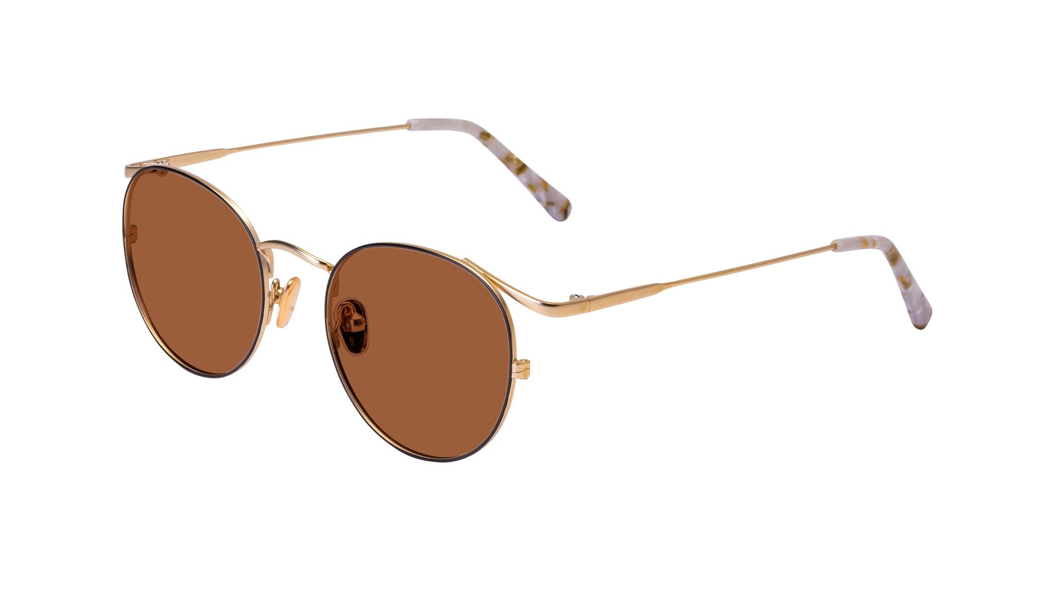 Affordable Fashion Glasses Round Sunglasses Women Curve Deep Gold Tilt