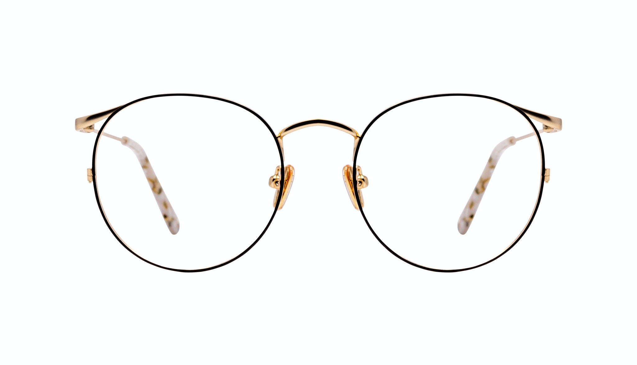 Affordable Fashion Glasses Round Eyeglasses Women Curve Deep Gold Front