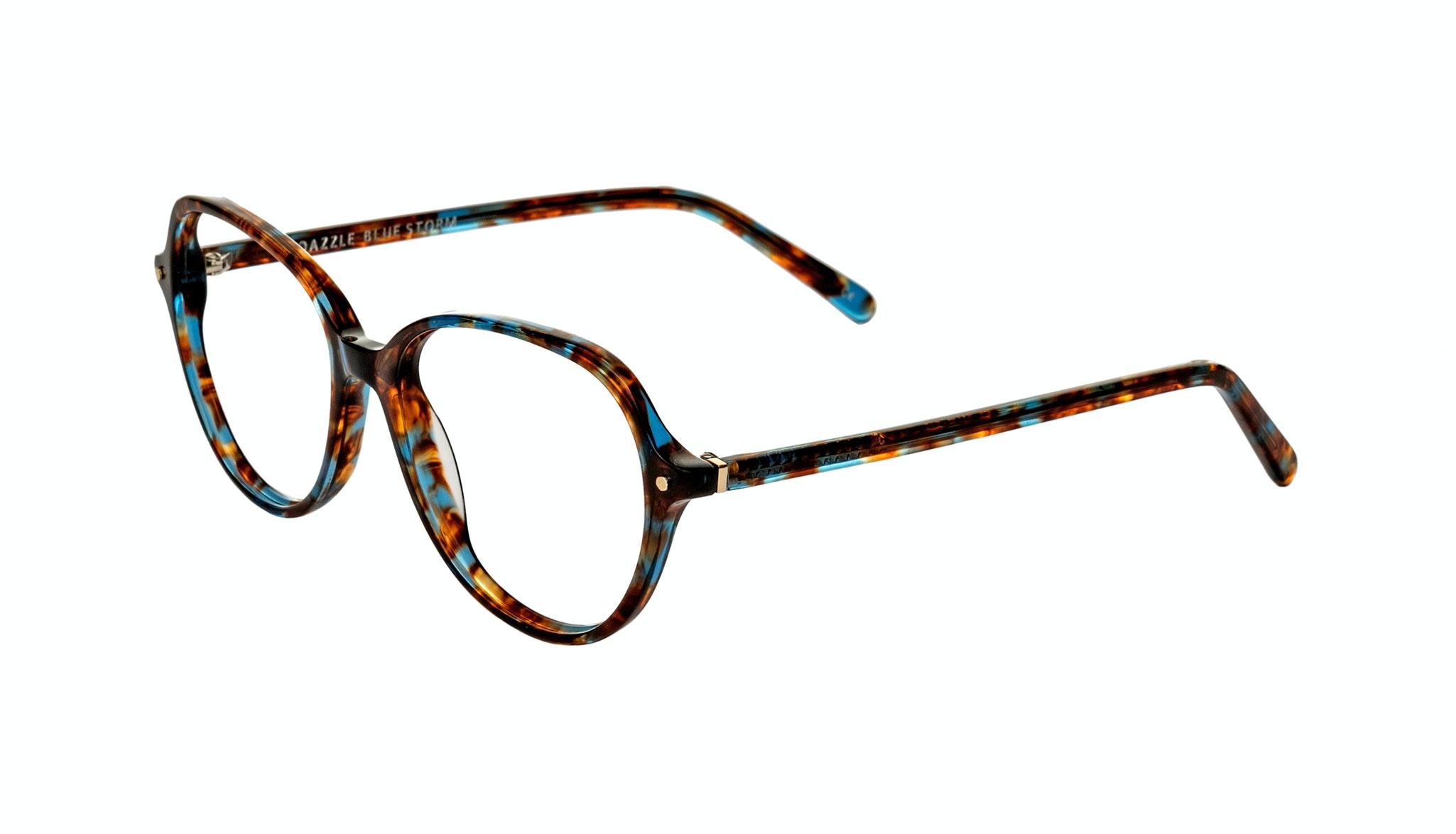 Affordable Fashion Glasses Round Eyeglasses Women Dazzle Blue Storm Tilt