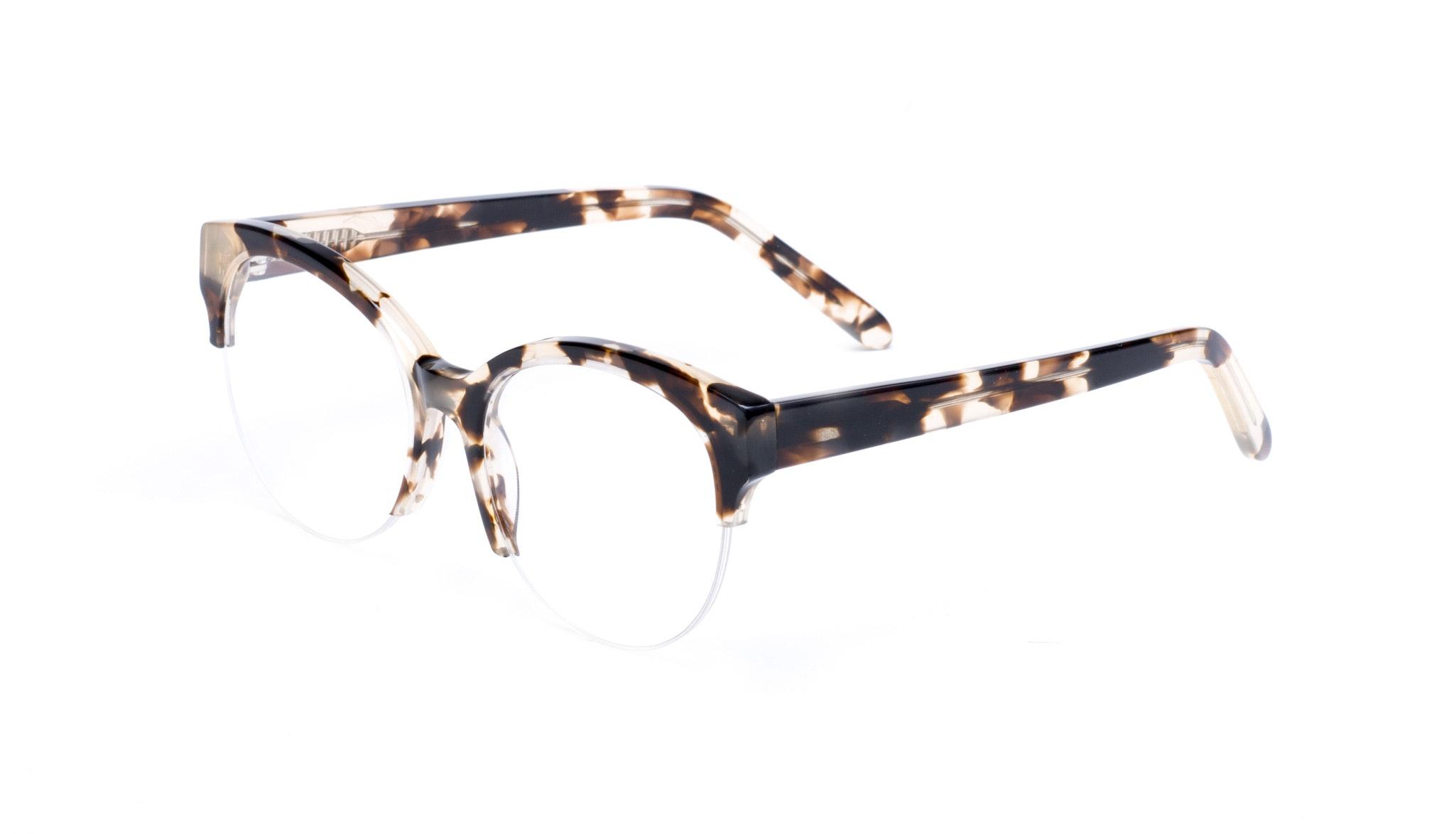 Affordable Fashion Glasses Cat Eye Round Semi-Rimless Eyeglasses Women Eclipse Light Mocha Tortoise II Tilt