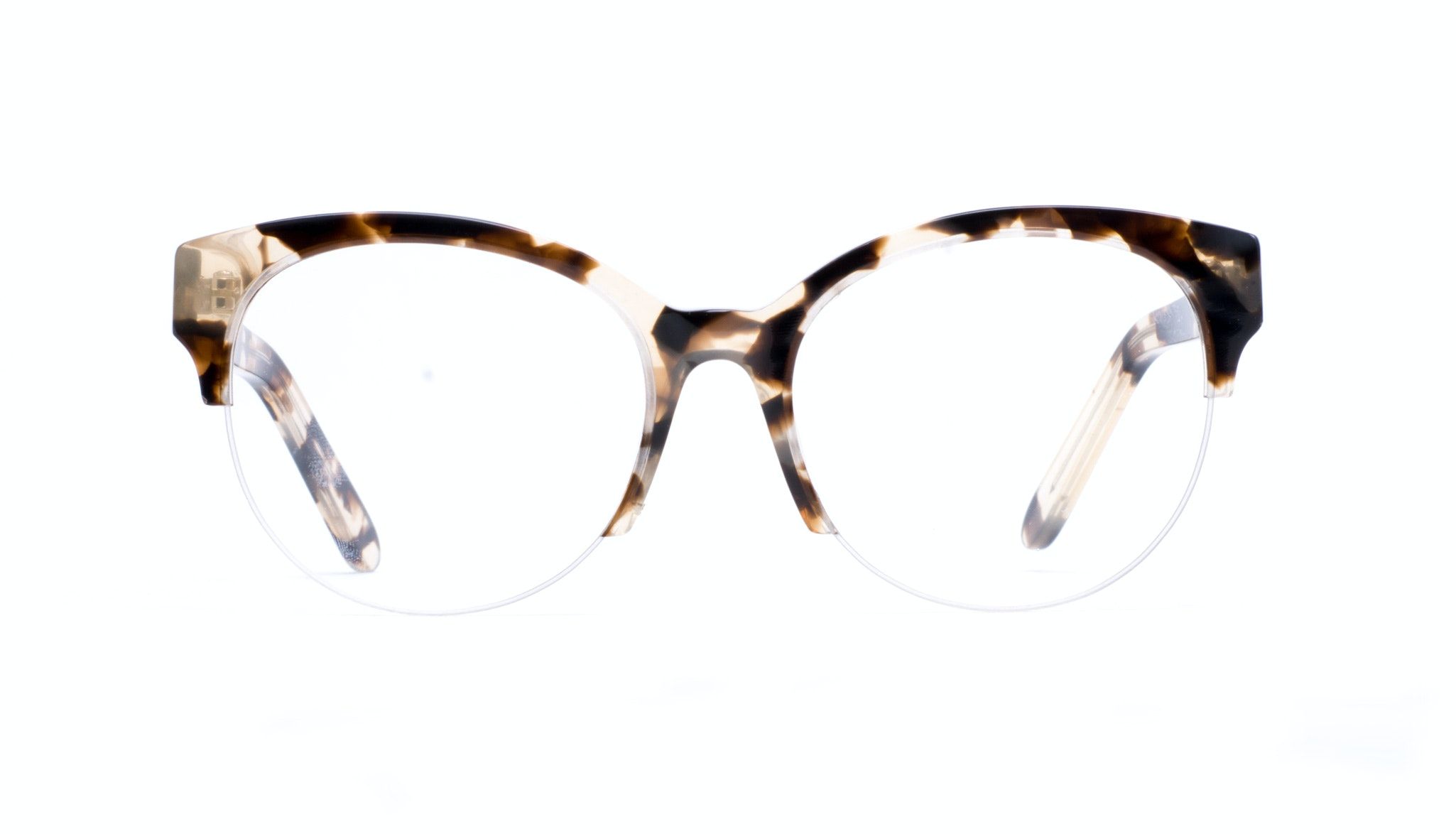 Affordable Fashion Glasses Cat Eye Round Semi-Rimless Eyeglasses Women Eclipse Light Mocha Tortoise II Front