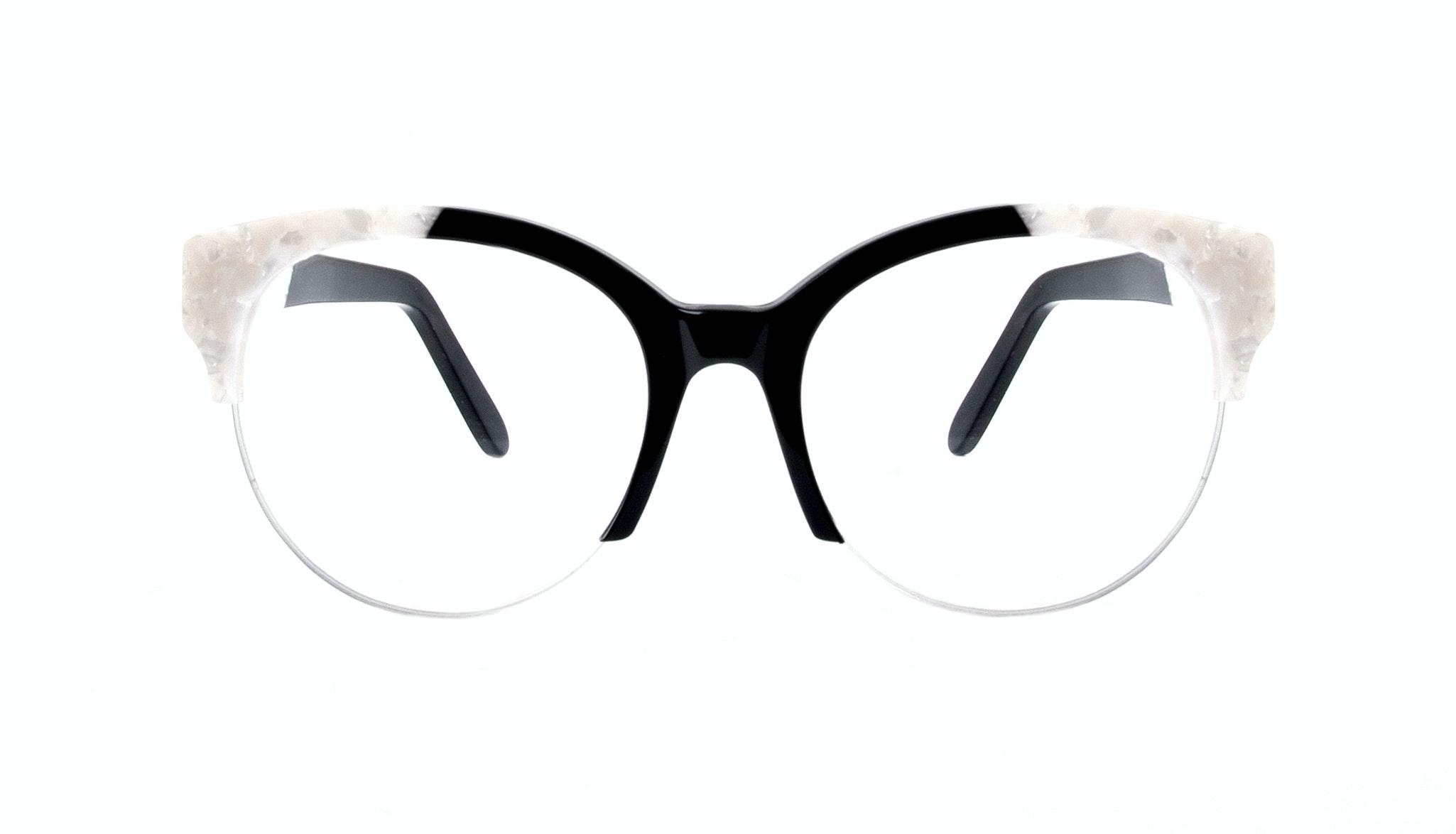 Affordable Fashion Glasses Cat Eye Round Semi-Rimless Eyeglasses Women Eclipse Light Onyx Pearl Front
