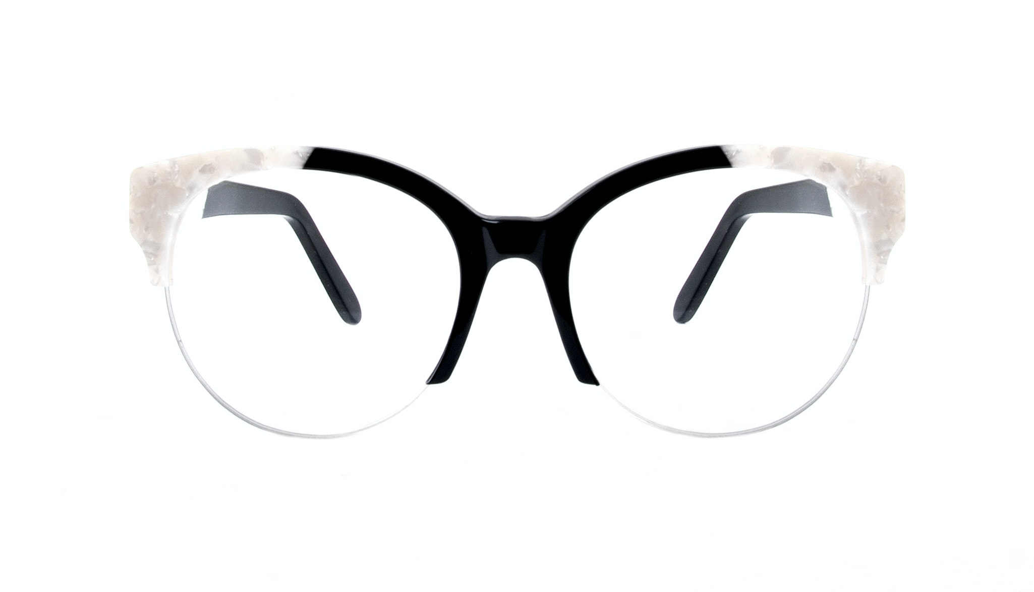Affordable Fashion Glasses Cat Eye Round Semi-Rimless Eyeglasses Women Eclipse Light Onyx Pearl Front