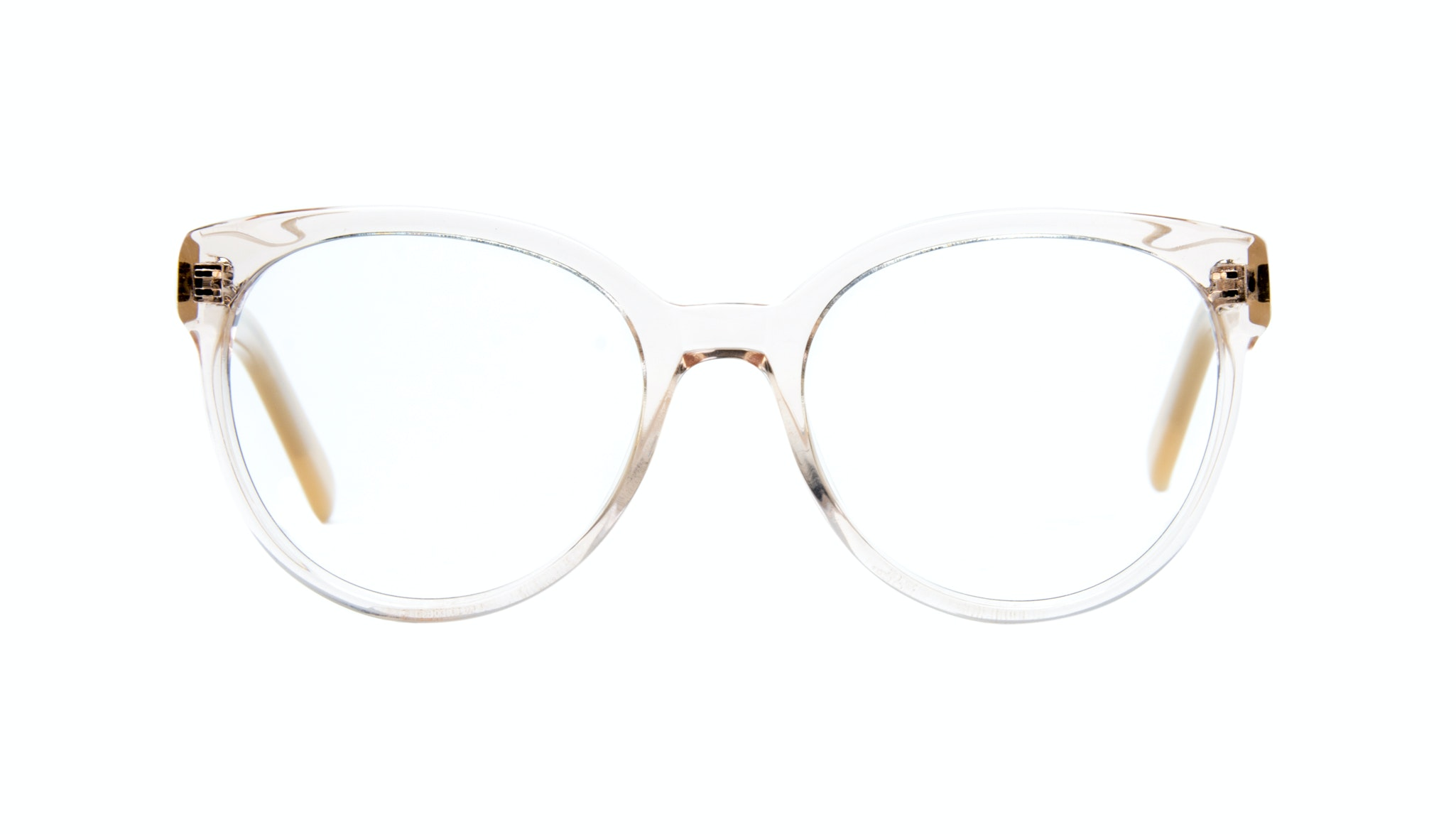 Affordable Fashion Glasses Cat Eye Round Eyeglasses Women Eclipse Blond Metal Front