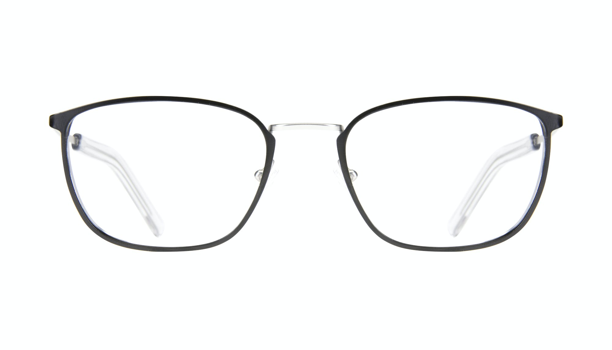 Affordable Fashion Glasses Rectangle Eyeglasses Men Edge Black Silver Front