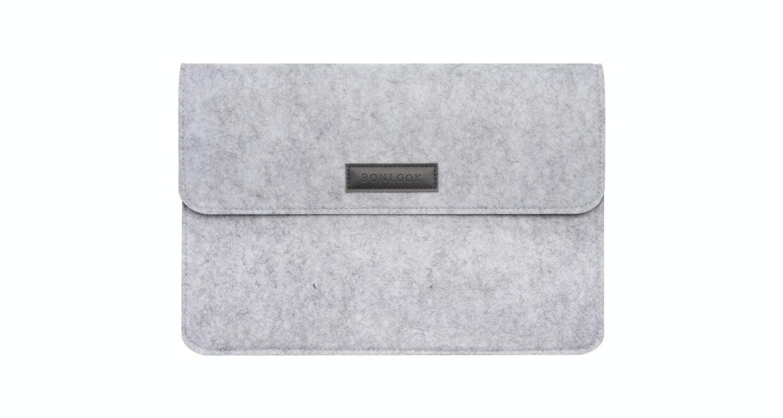 Affordable Fashion Glasses Accessory Men Women Felt Laptop Bag Grey Front