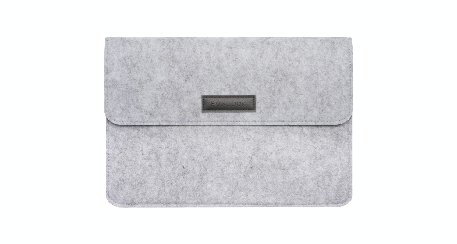 Affordable Fashion Glasses Accessory Men Women Felt Laptop Bag Grey Front