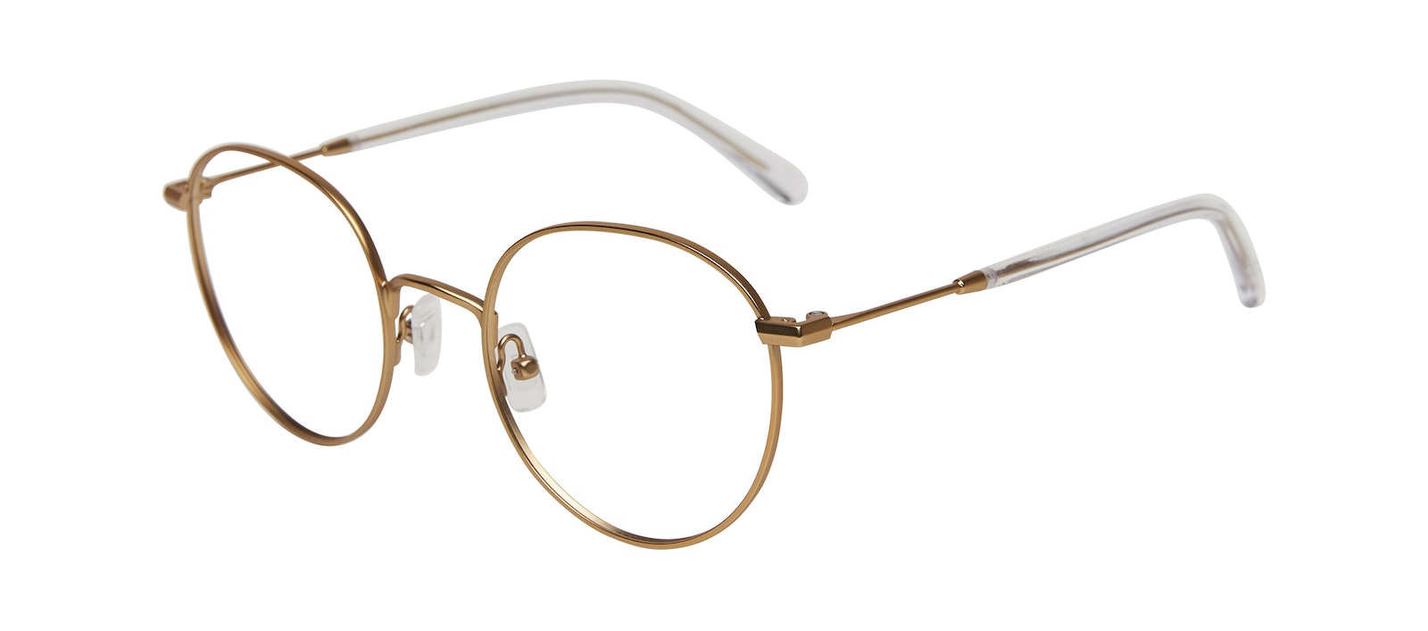 Affordable Fashion Glasses Round Eyeglasses Women Finesse Matte Gold Tilt