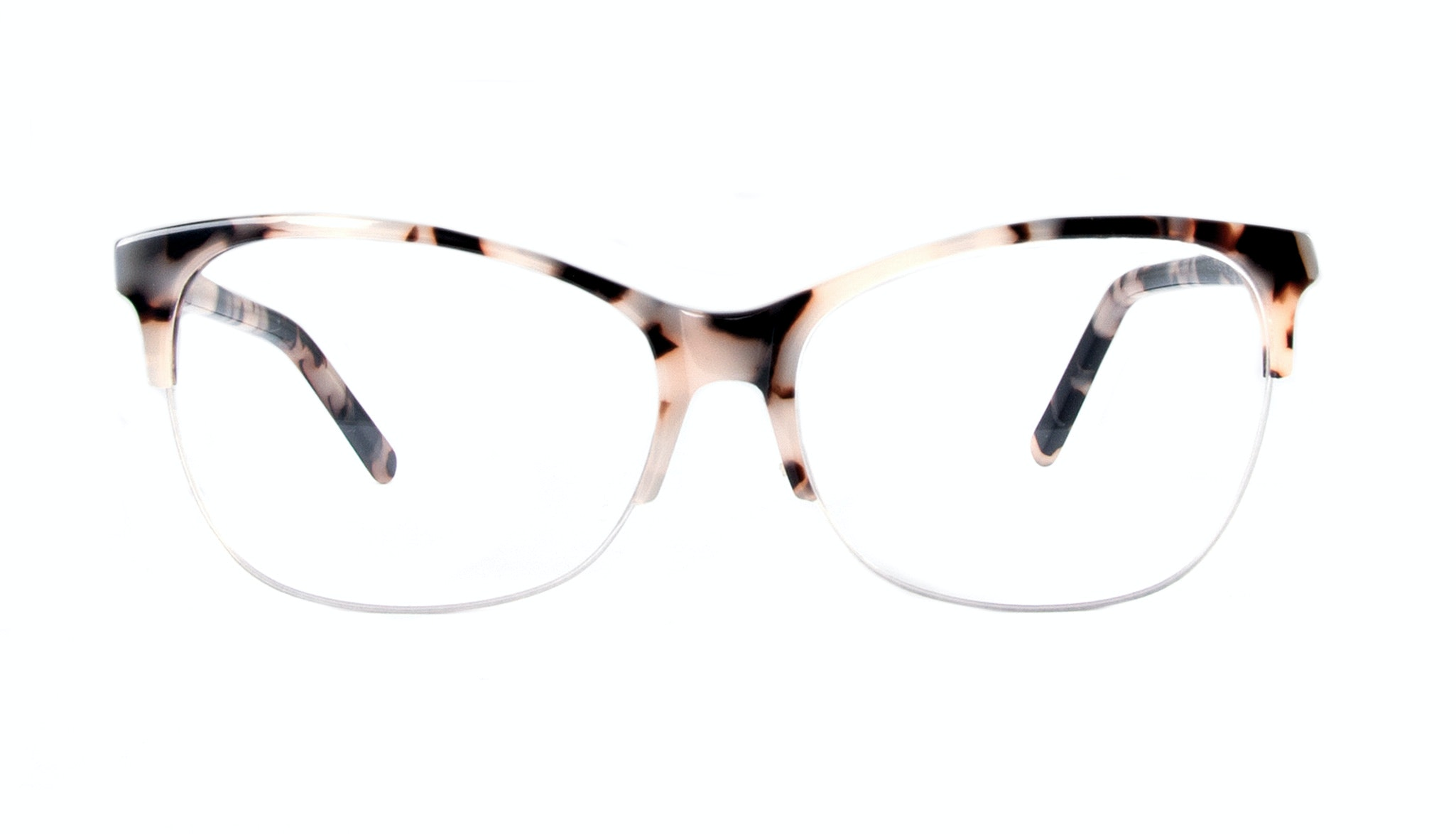 Affordable Fashion Glasses Cat Eye Rectangle Semi-Rimless Eyeglasses Women Flair Light Granite Front