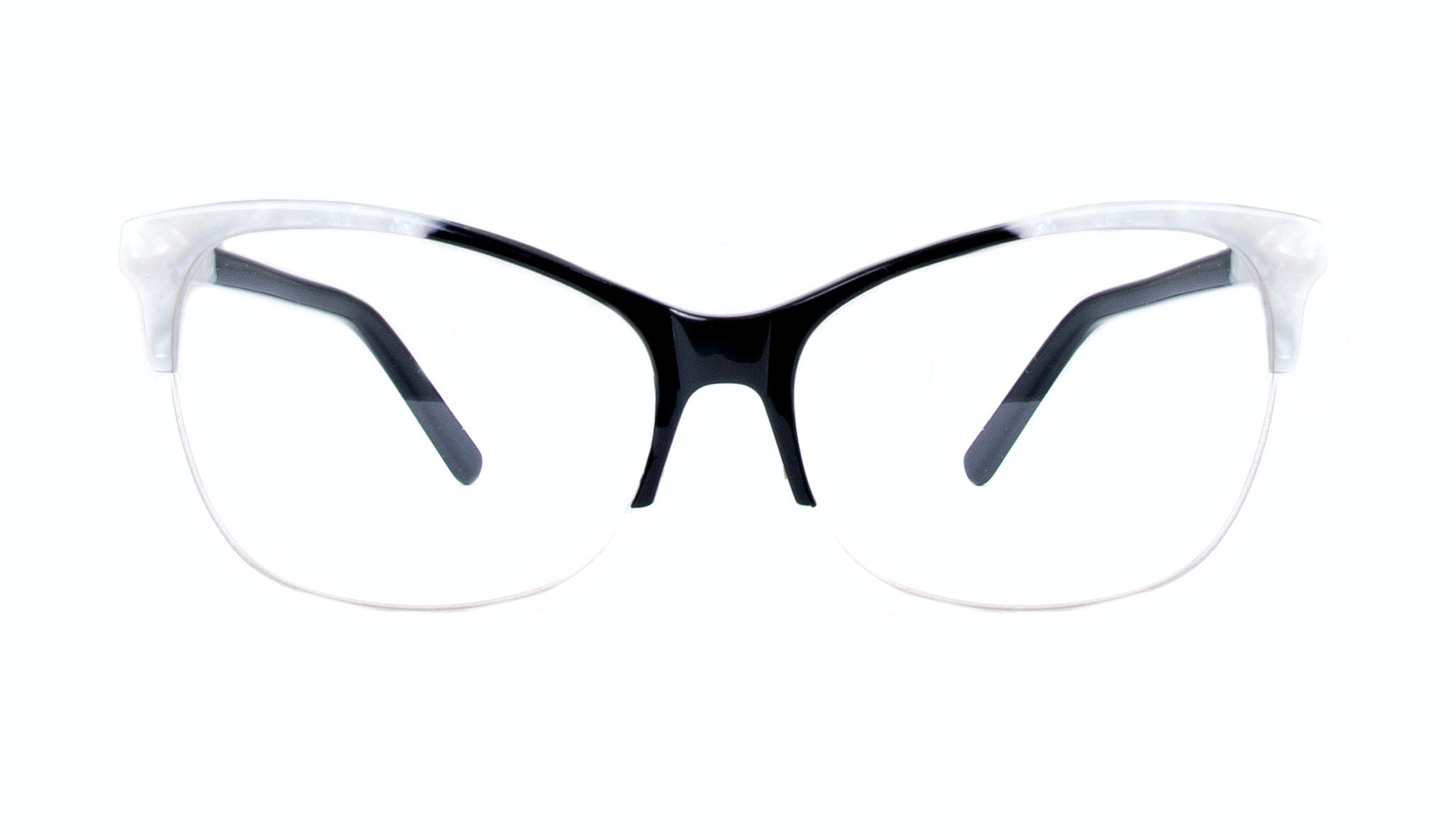 Affordable Fashion Glasses Cat Eye Rectangle Semi-Rimless Eyeglasses Women Flair Light Onyx Pearl Front