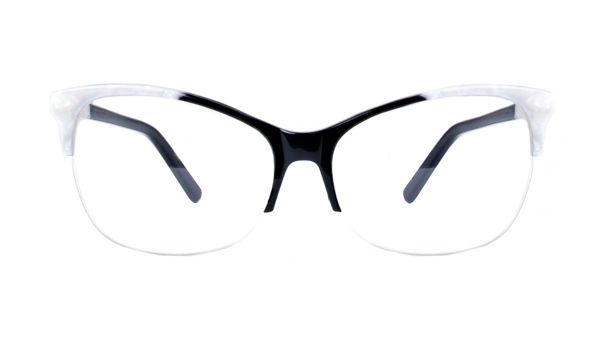 Affordable Fashion Glasses Cat Eye Rectangle Semi-Rimless Eyeglasses Women Flair Light Onyx Pearl Front