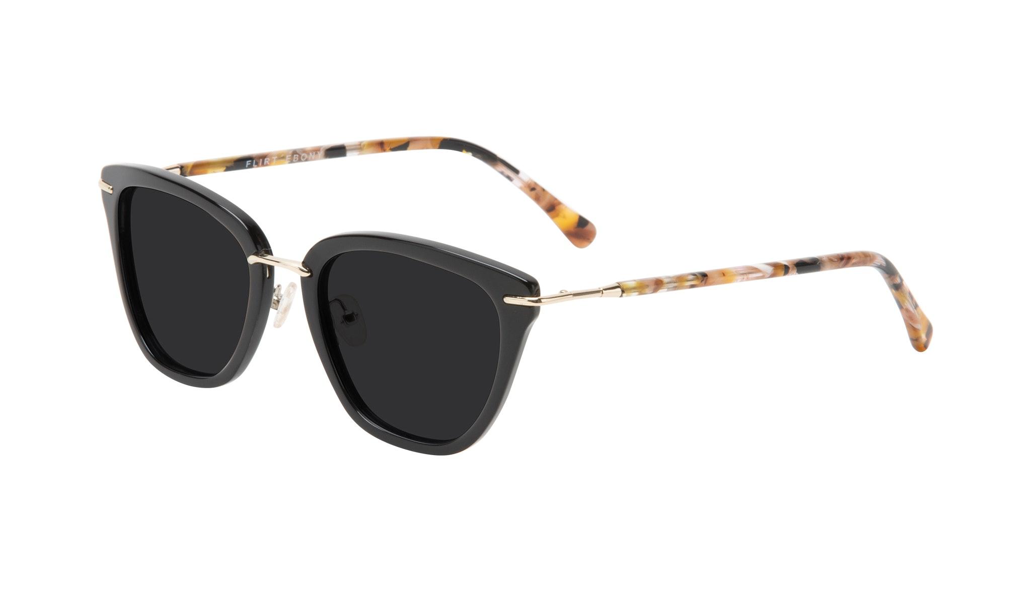 Affordable Fashion Glasses Square Sunglasses Women Flirt Ebony Tilt