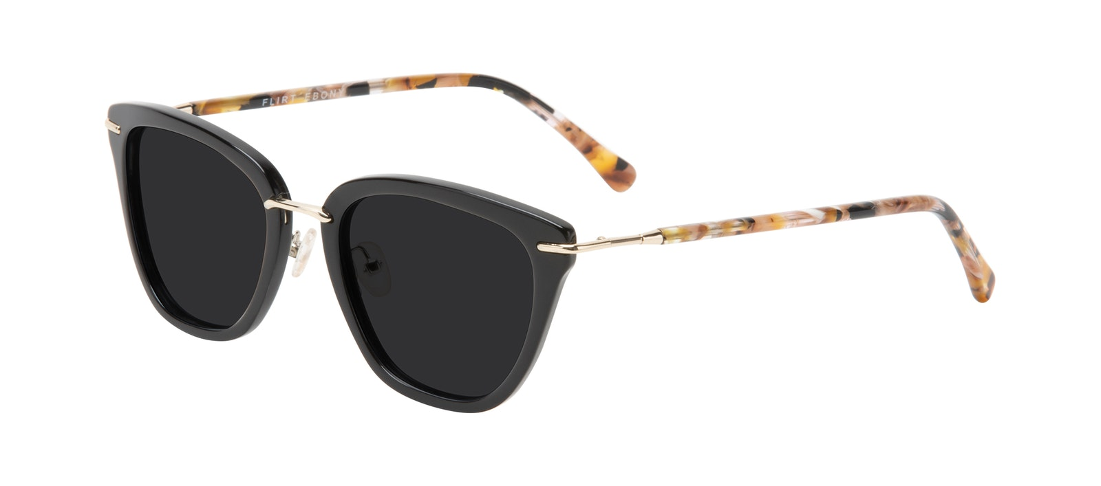 Affordable Fashion Glasses Square Sunglasses Women Flirt Ebony Tilt