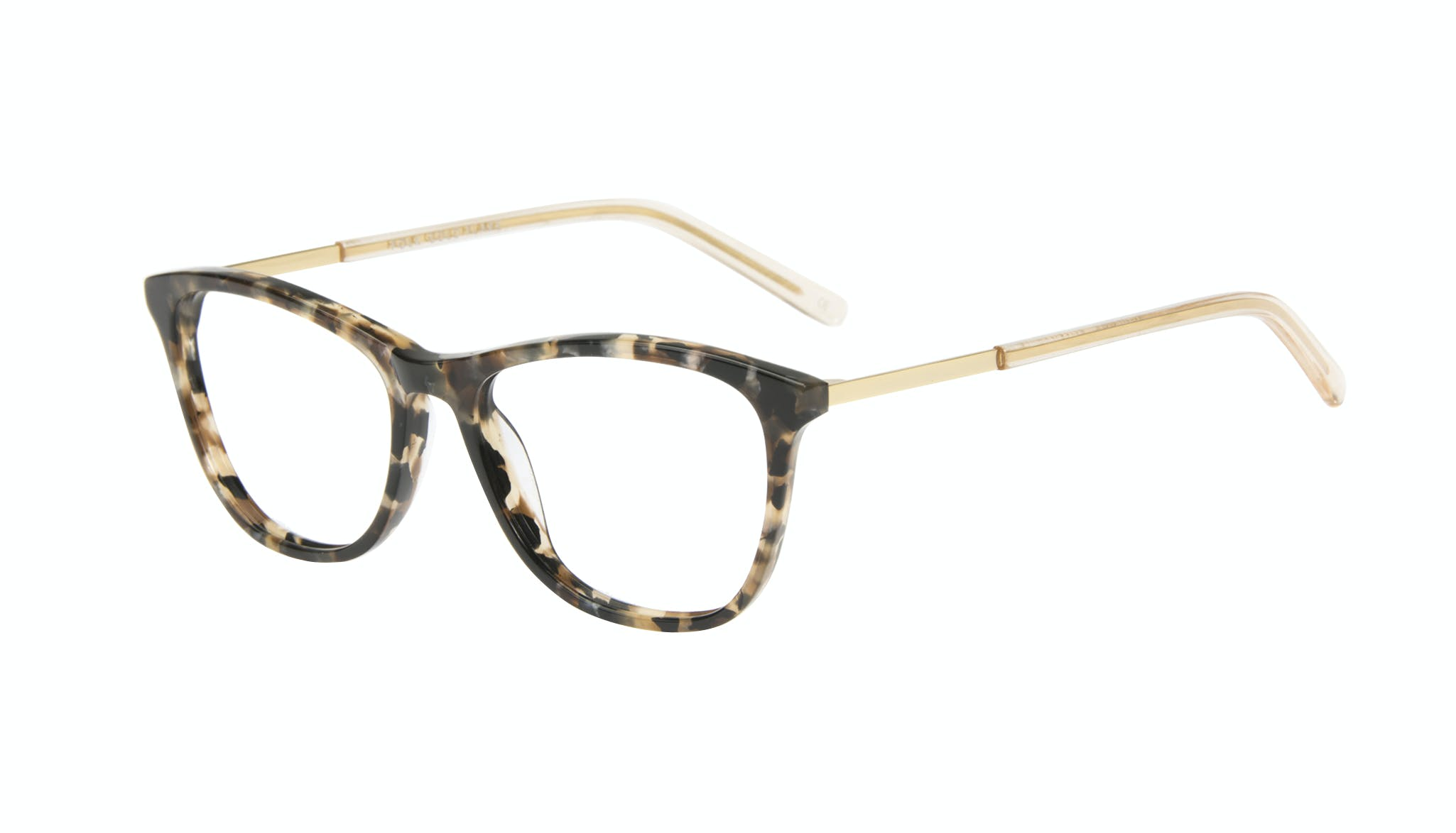 Affordable Fashion Glasses Cat Eye Rectangle Eyeglasses Women Folk Gold Flake Tilt