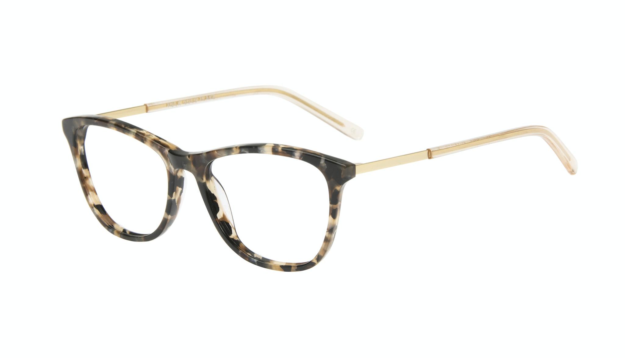 Affordable Fashion Glasses Rectangle Eyeglasses Women Folk Gold Flake Tilt