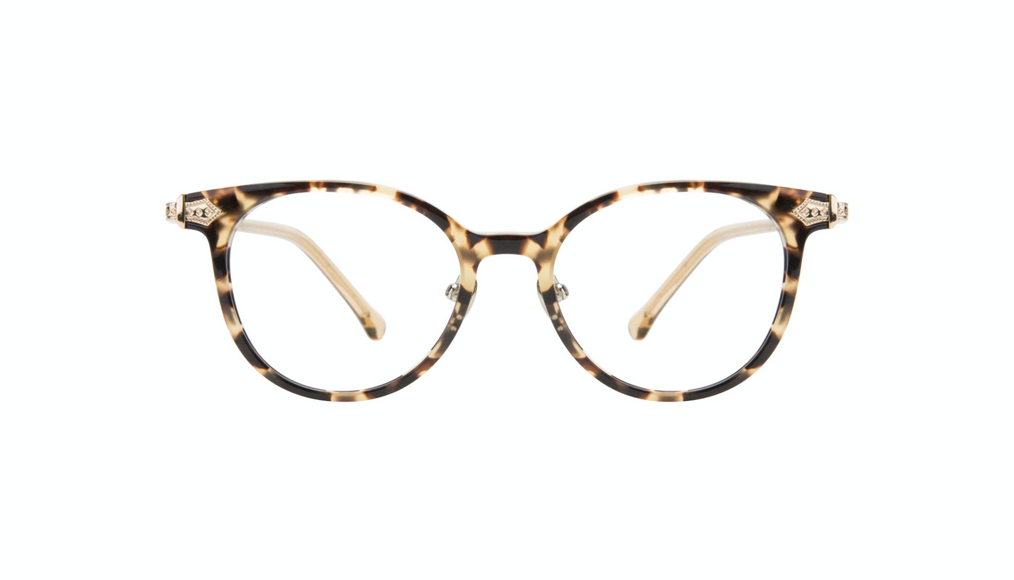 Affordable Fashion Glasses Round Eyeglasses Women Gem Golden Chip Front