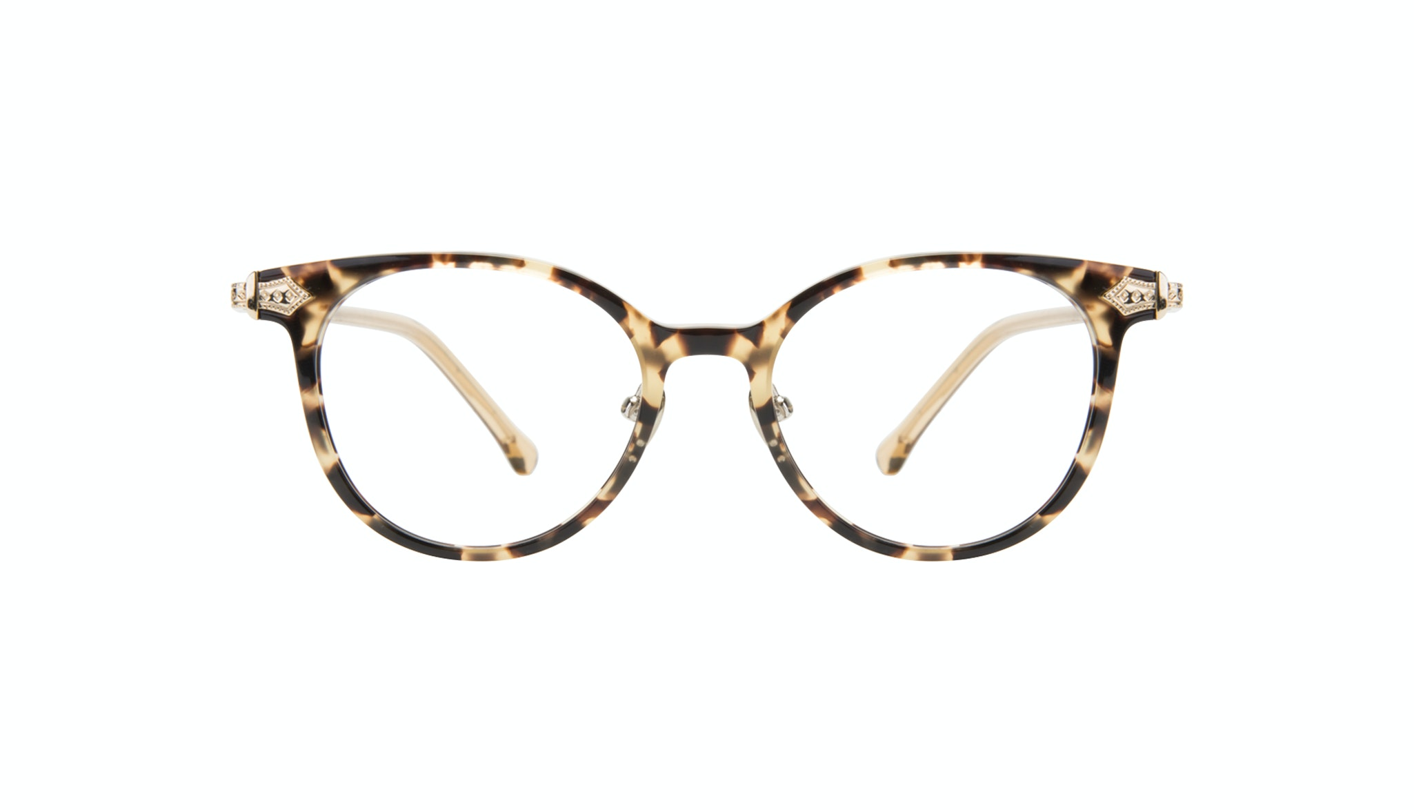 Affordable Fashion Glasses Round Eyeglasses Women Gem Golden Chip