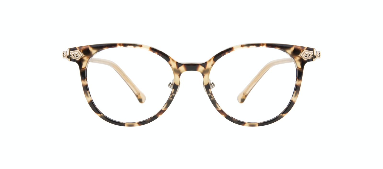 Affordable Fashion Glasses Round Eyeglasses Women Gem Golden Chip Front