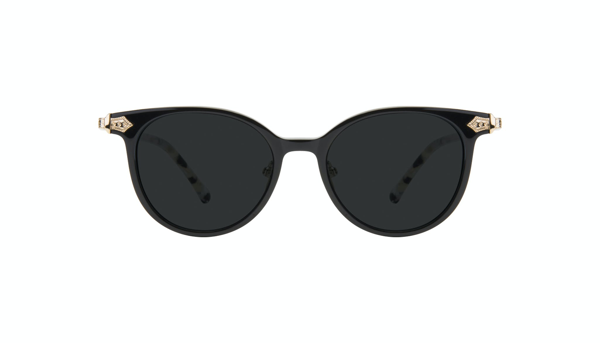 Affordable Fashion Glasses Round Sunglasses Women Gem Onyx Marble Front