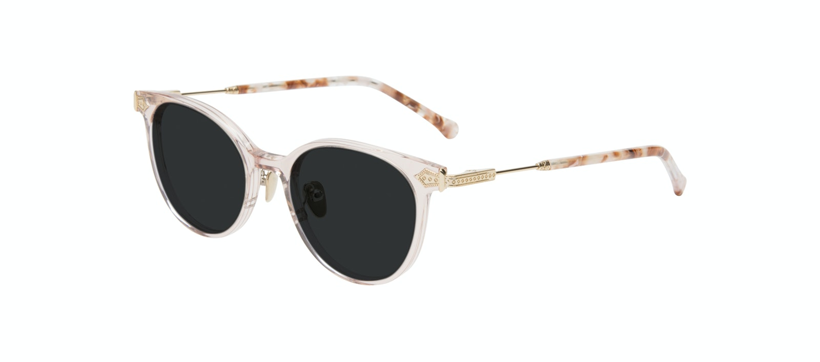 Affordable Fashion Glasses Round Sunglasses Women Gem Pink Quartz Tilt