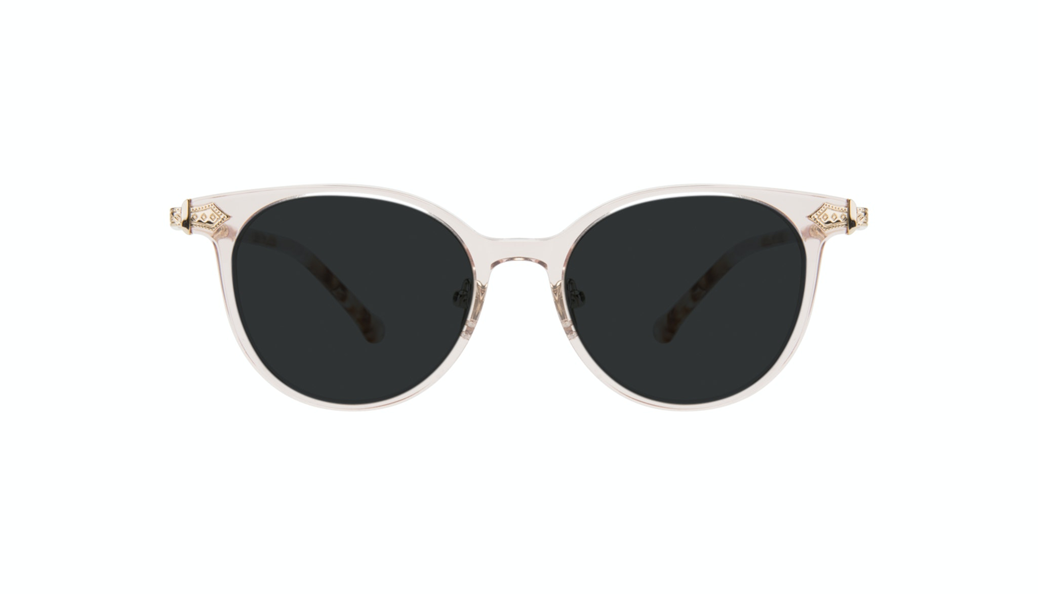 Affordable Fashion Glasses Round Sunglasses Women Gem Pink Quartz