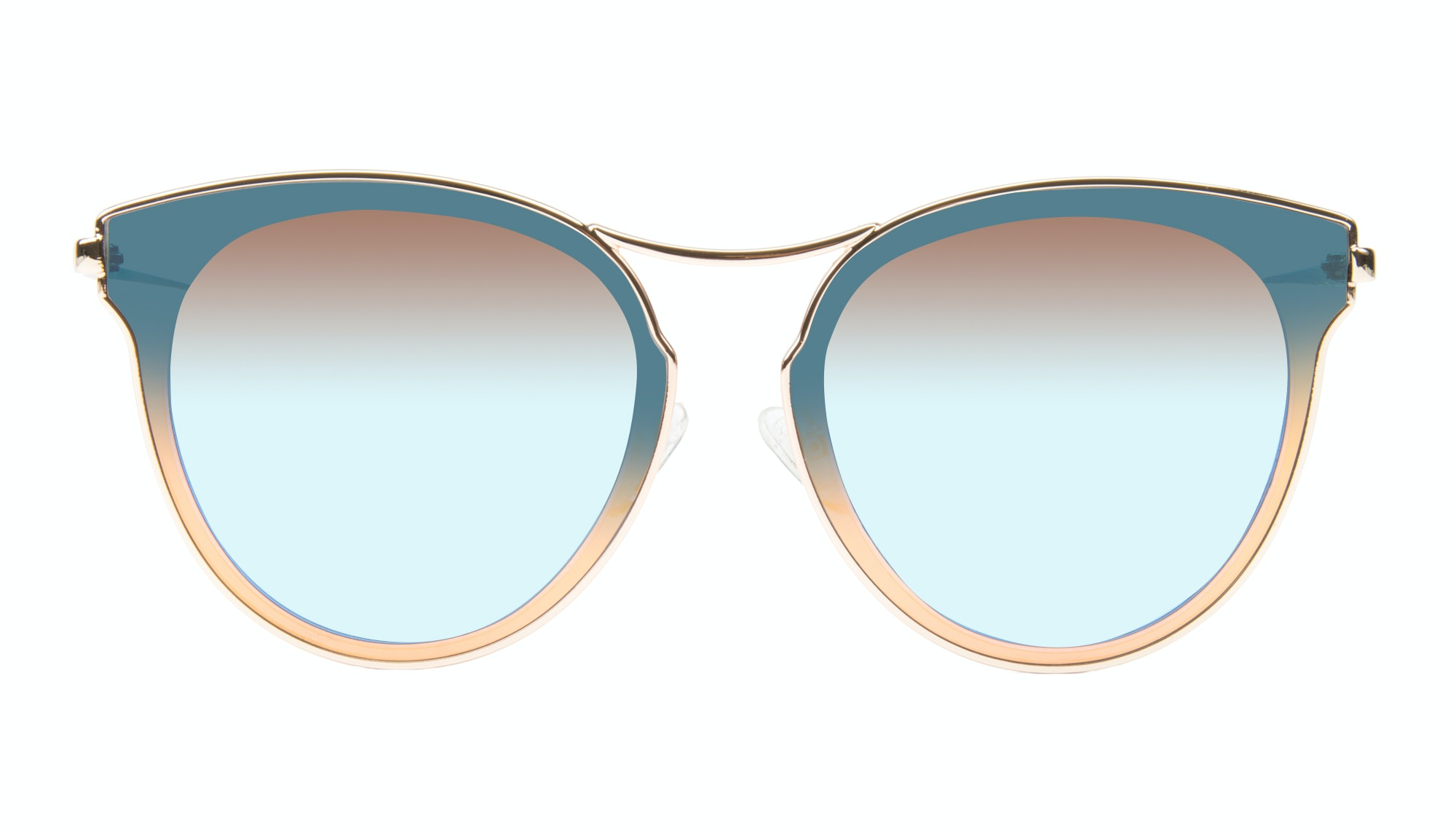 Affordable Fashion Glasses Round Sunglasses Women Glitz Gold Azure